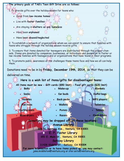 TAG Teen Gift Drive2014