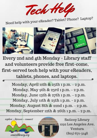 Saticoy Library - Tech Clinic - Until 9-2016